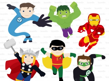 Action clipart. Superhero in digital meylah