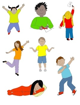 Kids in clip art. Action clipart