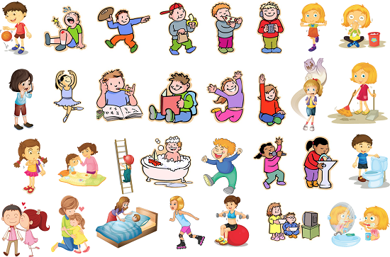 collection of pictures. Action clipart action word