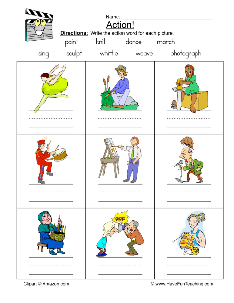 Action clipart action word. Words worksheet