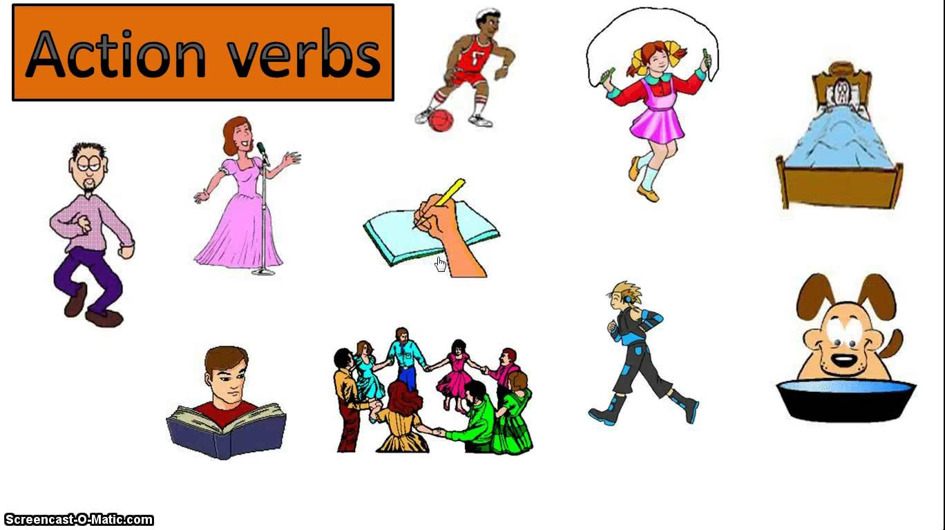 Verb words incep imagine. Action clipart action word