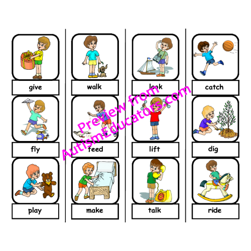 Words file folder matching. Action clipart action word