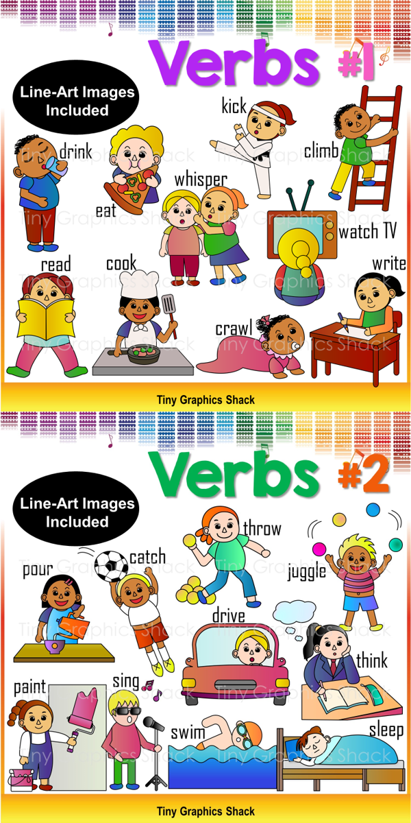 Action clipart action word. Verbs and actions clip