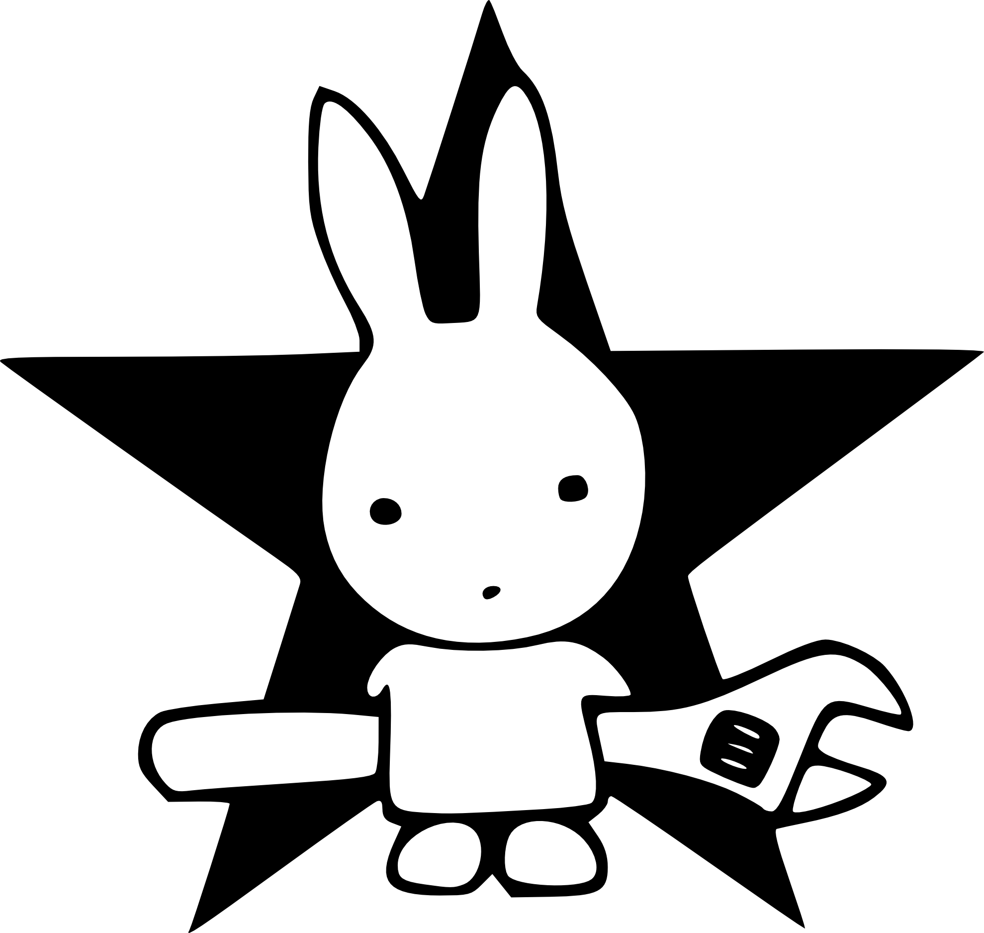 Action rabbit black white. Snake clipart illustration