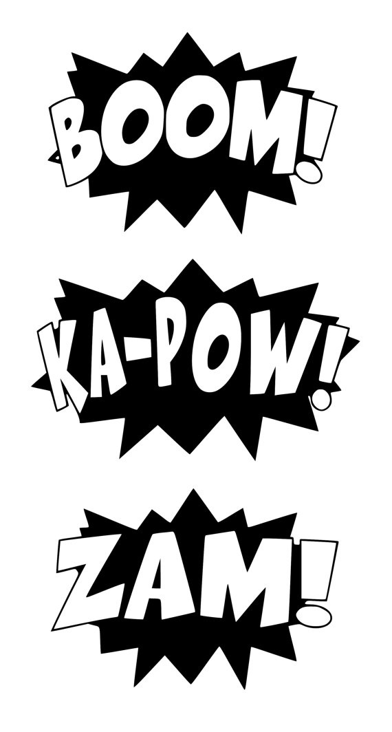 Superhero words . Action clipart black and white
