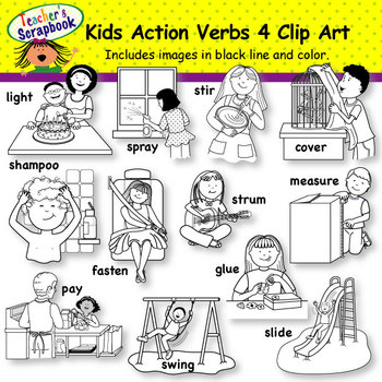 Kids verbs clip art. Action clipart black and white