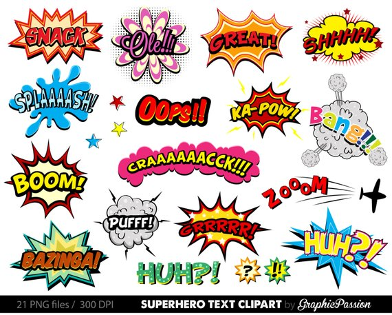 Comic superhero bubbles speech. Action clipart bubble