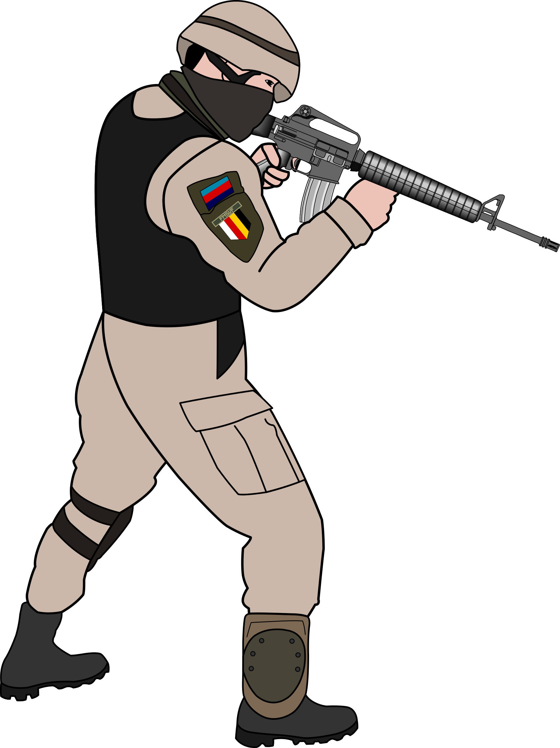 Clipart gun soldier. In action big image