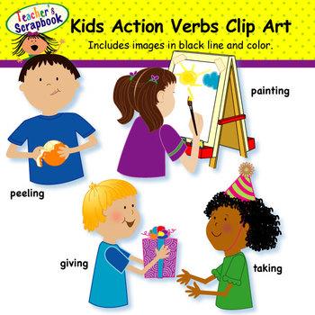 Action clipart child action. Kids verbs clip art