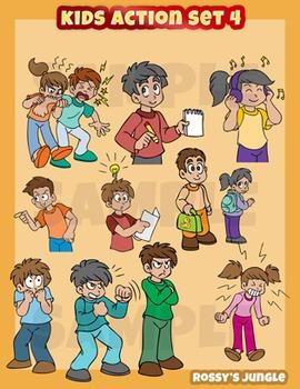 Kids set behavior and. Action clipart child action