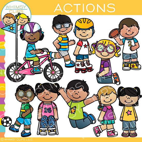Action clipart child action. Kids clip art