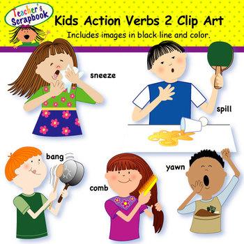 Kids verbs clip art. Action clipart child action