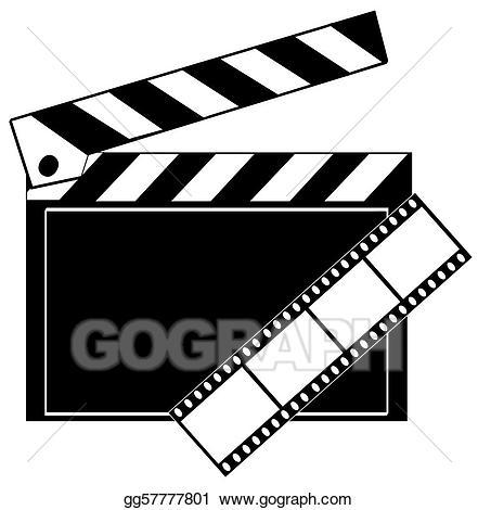 Action clipart clapboard. Stock illustration movie film