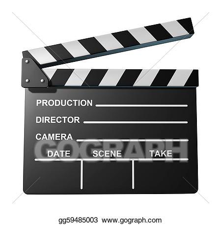 Stock illustrations black clap. Action clipart clapboard