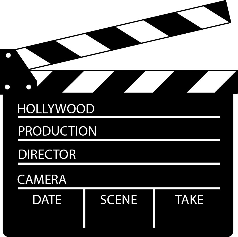 Template film collection movie. Action clipart clapboard