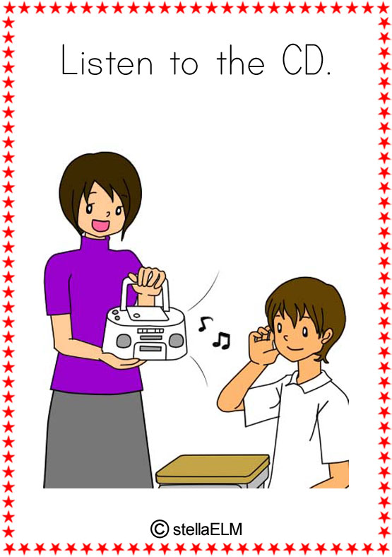 Action clipart classroom. Flashcards actions listen to