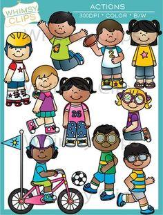 Exercise kids clip art. Action clipart classroom