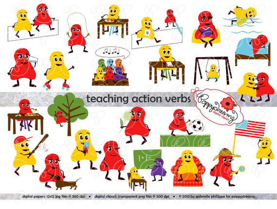 Teaching verbs digital flashcards. Action clipart clip art