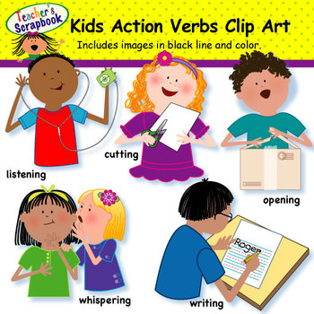 Kids verbs by teachersscrapbook. Action clipart clip art