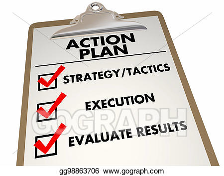 Stock illustration clipboard strategy. Checklist clipart action plan