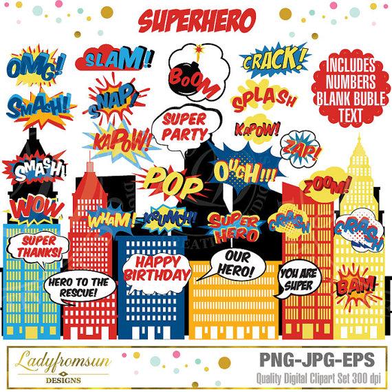 Superhero clip art words. Action clipart comic book