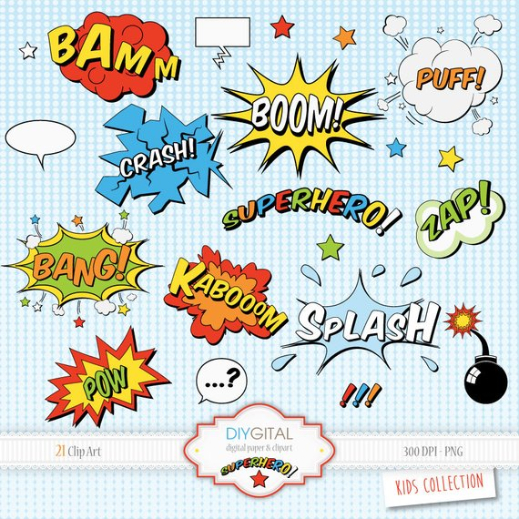 Action clipart comic book. Superhero elements sound effects