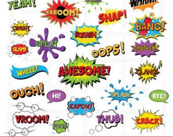 Action clipart comic book. Superhero clip art text