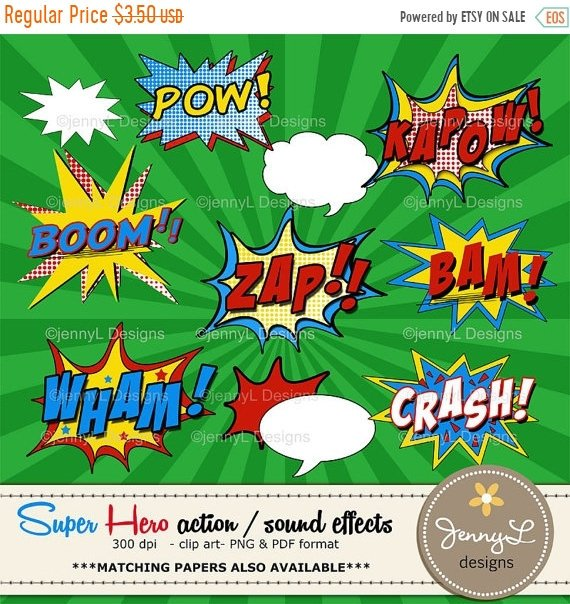 off superhero sound. Action clipart comic book
