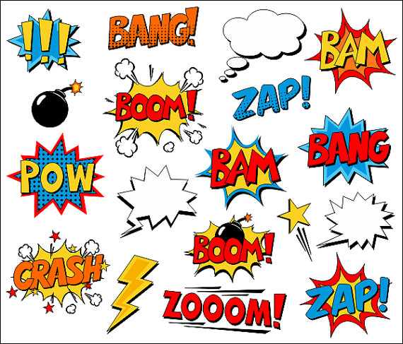 Superhero clip art text. Action clipart comic book