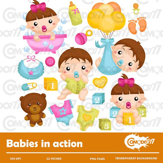 Babies in Action Clipart