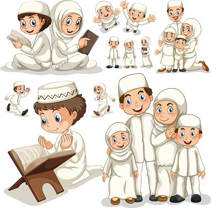 Muslim family in actions. Action clipart different