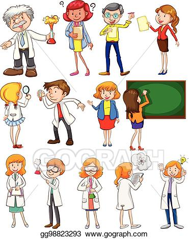 Action clipart different. Vector art teachers and