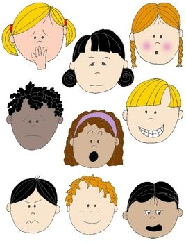 Kids in action faces. Clipart kid emotion