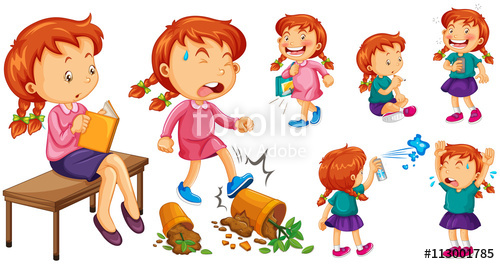 Girl doing activities stock. Action clipart different