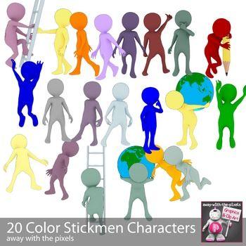 Action clipart different.  color stickmen clip