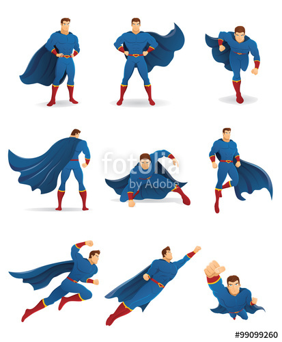 Superhero in action set. Cape clipart flying cape
