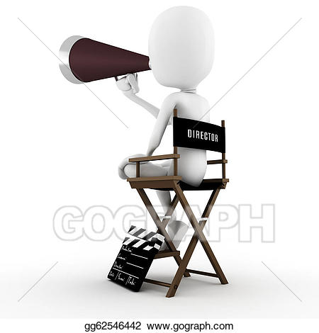 Action clipart director. Drawing d man on