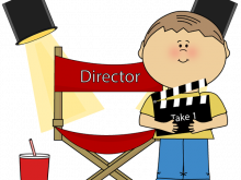 Action clipart director. Movie cartoon ready for