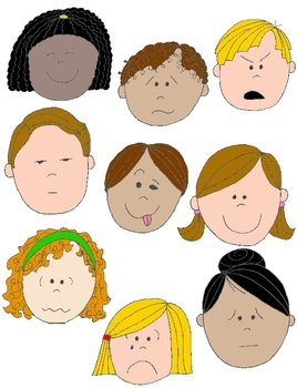 Kids in action faces. Feelings clipart