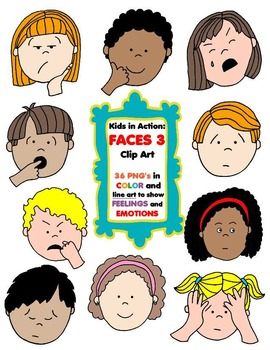 Kids in action faces. Emotions clipart ashamed