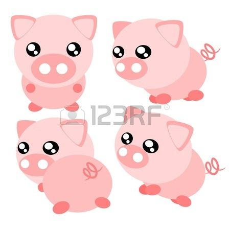 Cartoon pig and cute. Action clipart emotion
