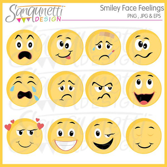 Smiley face feelings emoji. Action clipart emotion