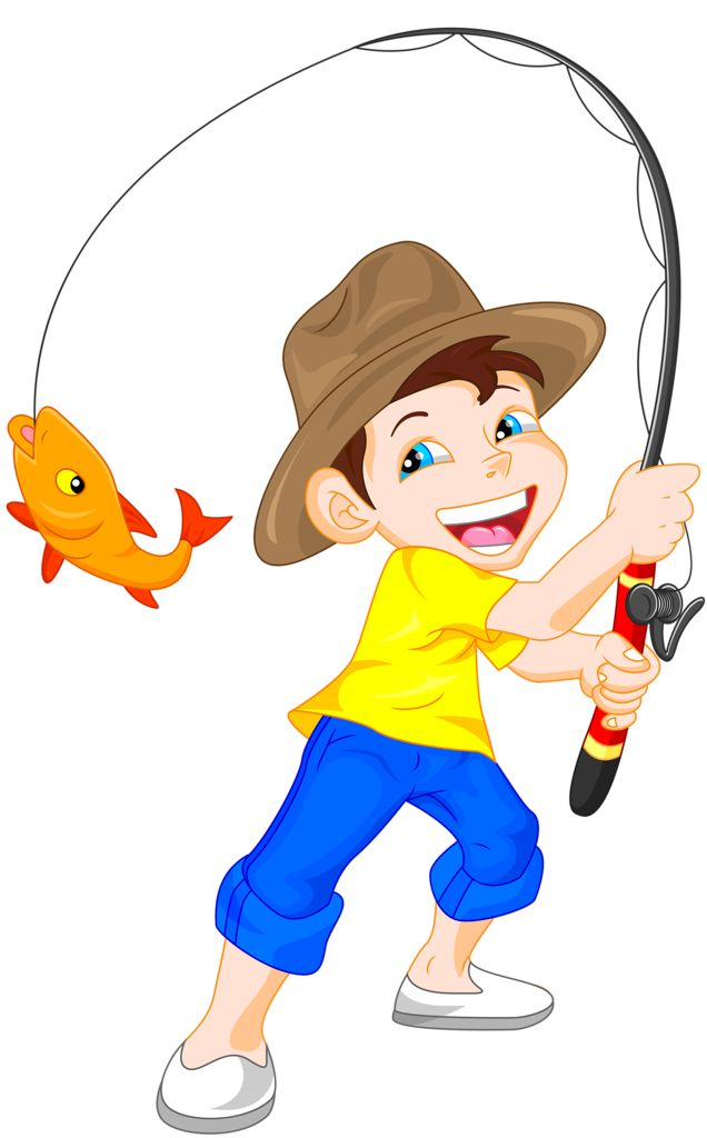 Action clipart fishing. Pencil and in color