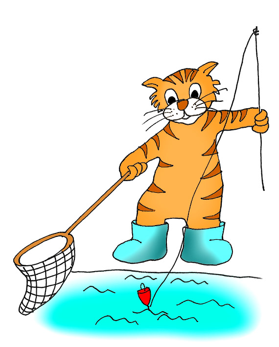 Action clipart fishing. Cat clip art sketches