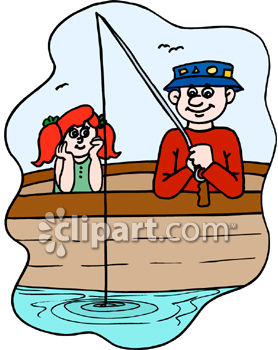 Pencil and in color. Action clipart fishing