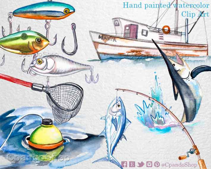 Boats clipart watercolor. Fishing digital clip art