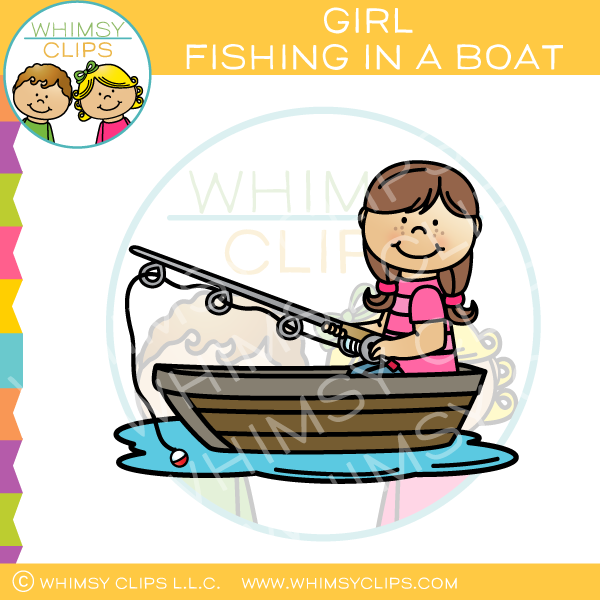 Brown haired in a. Fishing clipart little girl