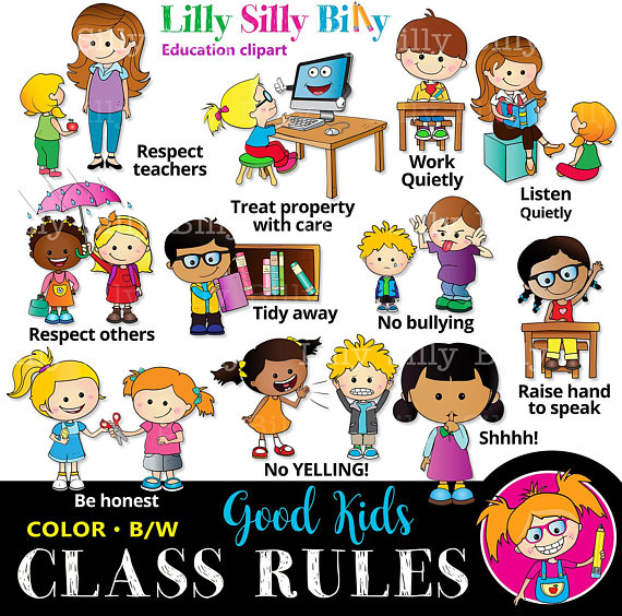 Classroom rules black and. Action clipart honest