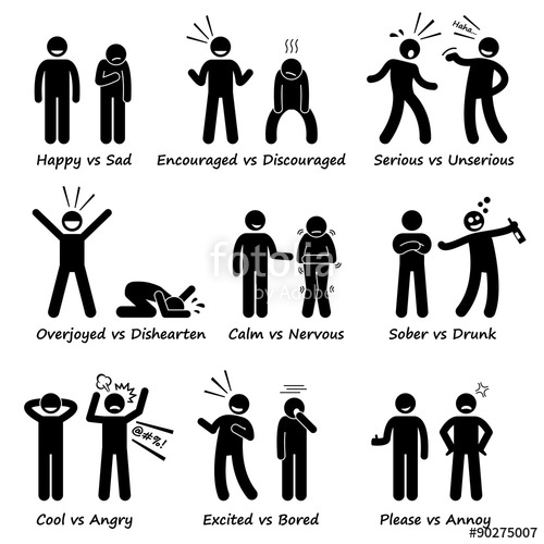 Action clipart human action. Opposite feeling emotions positive