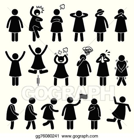 Vector stock woman poses. Action clipart human action